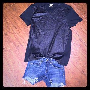 NWT Calvin Klein Leather V-Neck Shirt